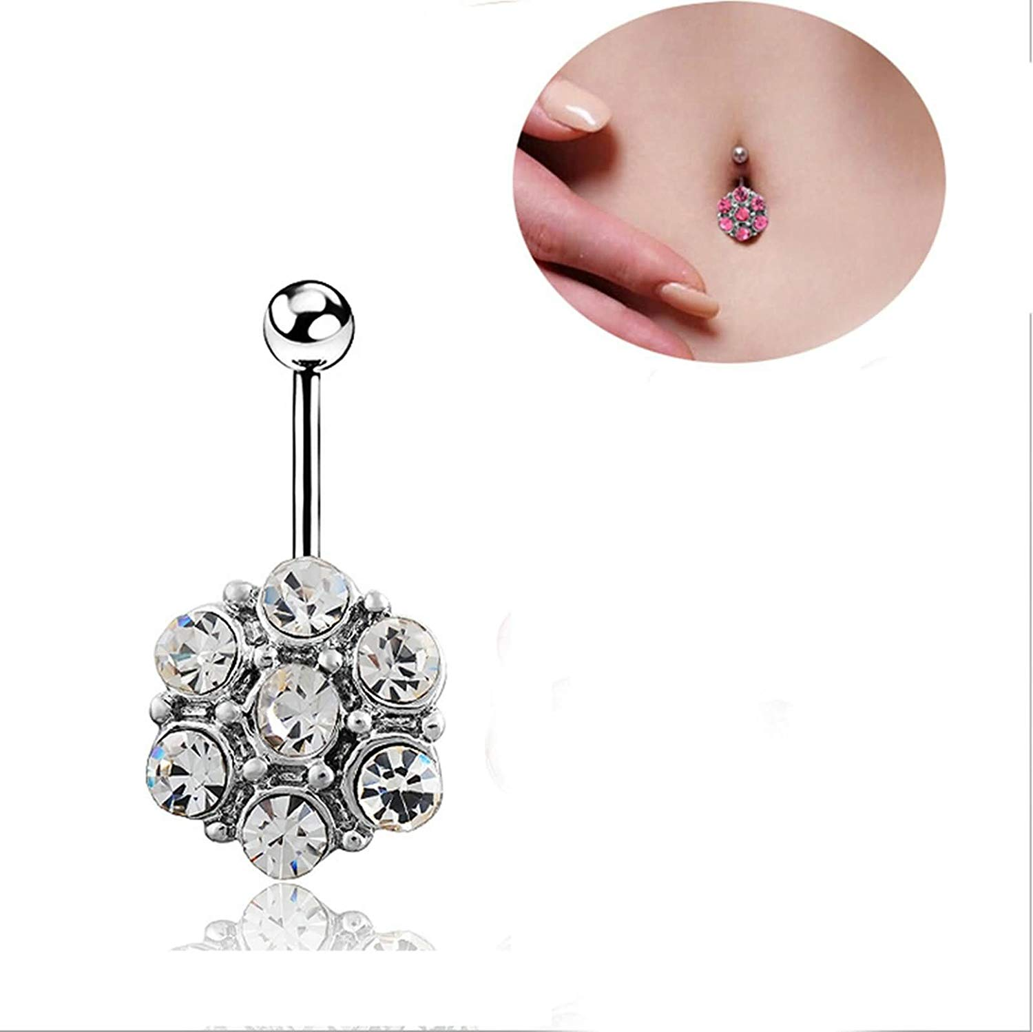Get Quotations Beydodo Belly On Dangle Jewelry Surgical Steel Rings Long Bar Round Cubic Zircon