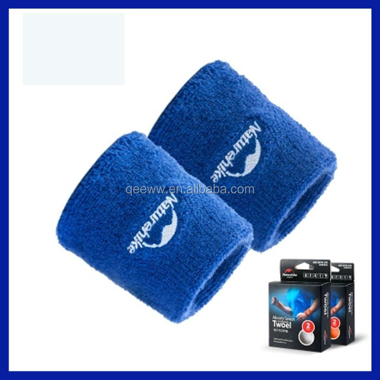 Cheap bulk wholesale cheap blue terry cotton wrist sweatband with custom embroidery logo