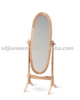 Hot Sale Restroom Oval Wood Frame Floor Stand Mirror (j310) - Buy ...
