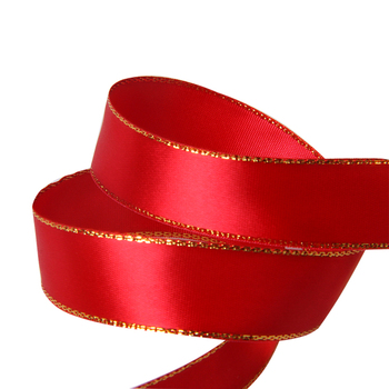 Red Wired Ribbon | Wholesale 15mm Red Wired Metallic Gold Trim Satin Ribbon For