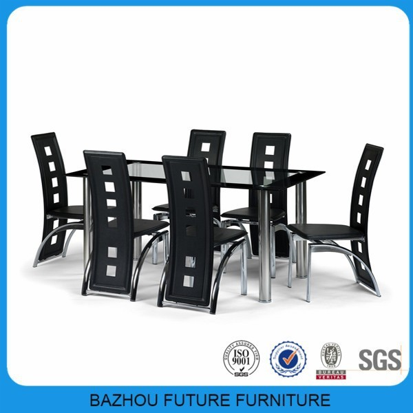 HeBei manufacture cheap glass dining table with 6 to 4 chairs
