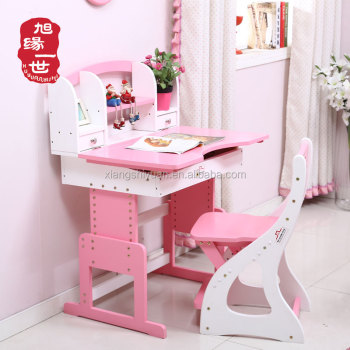 Wooden Children Bedroom Furniture Set Solid Wood Princess Desk And Chair Pink Kids Chairs