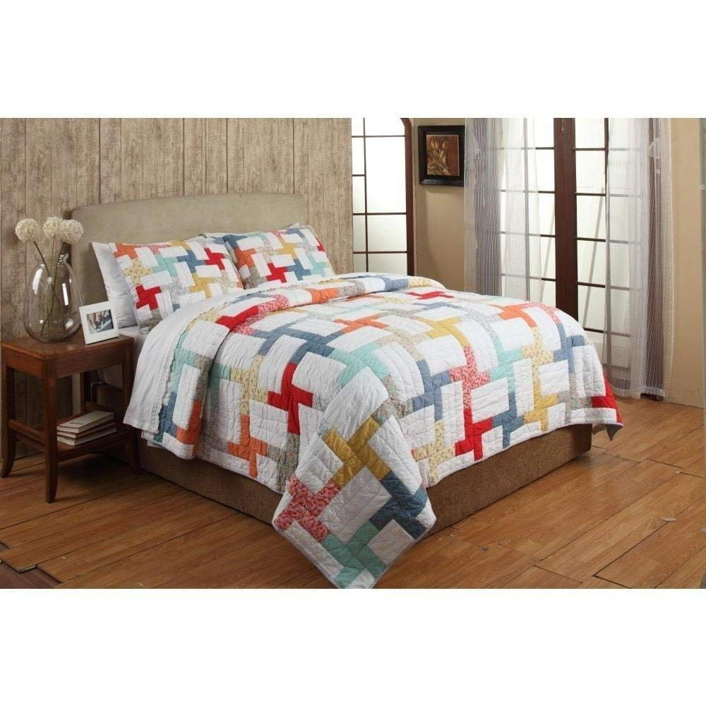 3pc Trendy Blue Red Pink Yellow Green Orange White Queen Quilt Set, Color Block Patchwork Themed Bedding Rainbow Modern Cabin Floral Geometric Pretty Chic Dot, Cotton