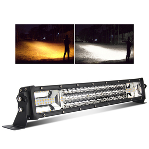 "Wholesale 42"" 32"" 52"" Amber Dual Color Flash 22 Inch 3 Rows Curved Offroad Strobe Car Led Light Bar For Trucks"
