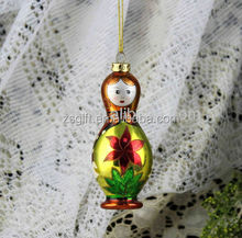 Christmas decorations item type russian nesting doll shape glass Christmas tree ornament wholesale 2016