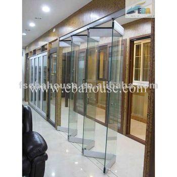 Luxury Frameless Double Glass Folding Door Office Partition Door Frameless Sliding  Glass Door