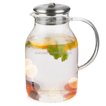 Heat Resistant Borosilicate Glass Water Pitcher Carafe Jug With