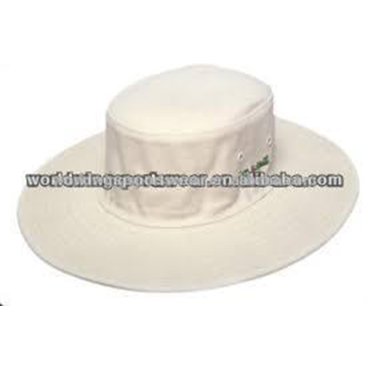 Mens custom made 100% twill di cotone off white larga tesa ricamato cricket cappello