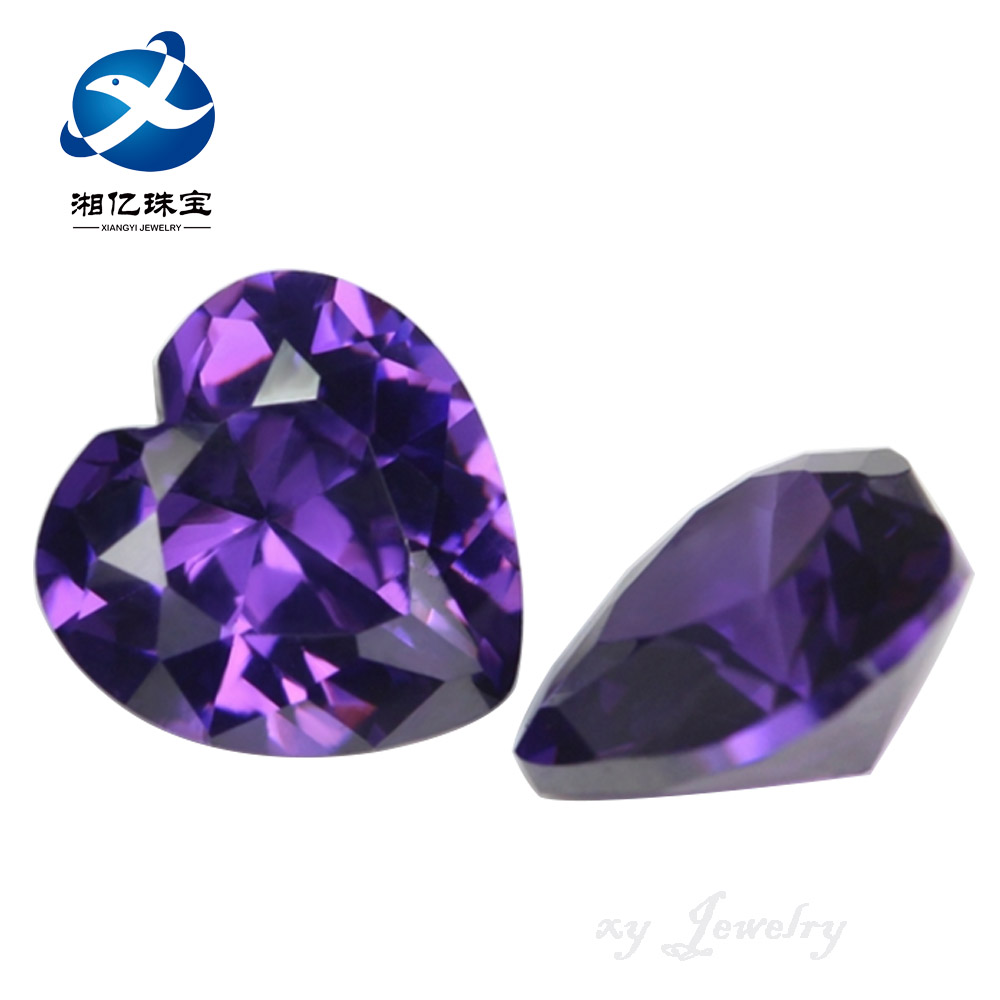 Machine Cutting Loose Stone CZ AAA Glamour Heart Shape Gemstone Violet CZ
