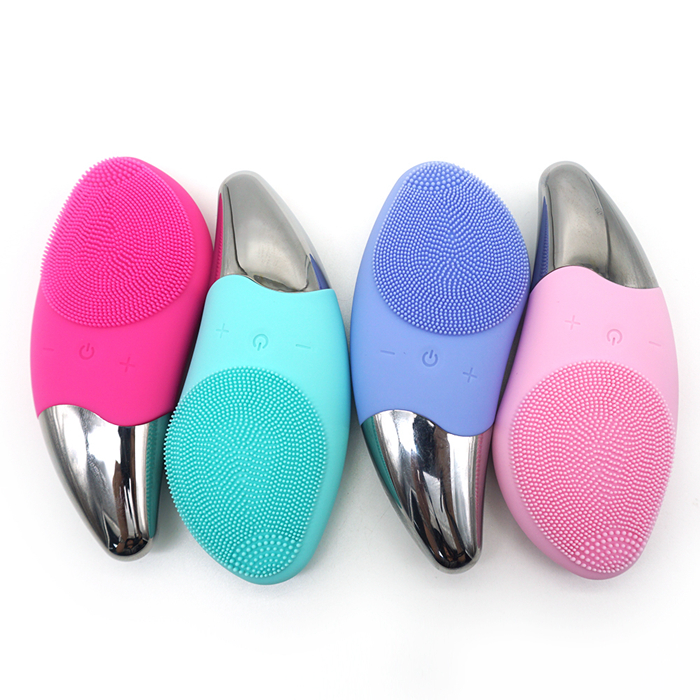 Rechargeable Silicone Waterproof Sonic Electric Facial Massager Cleansing Brush Face cleaner, Blue/green/pink/purple