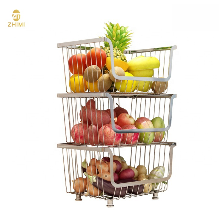 Three Tiers Metal Kitchen Storage Rack Moving Fruit and Vegetable Storage Rack With Wheels