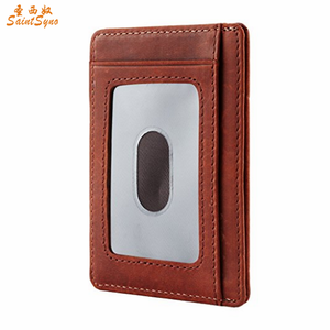 17751 RFID blocking debit credit card holder slim wallet with middle pouch and id window