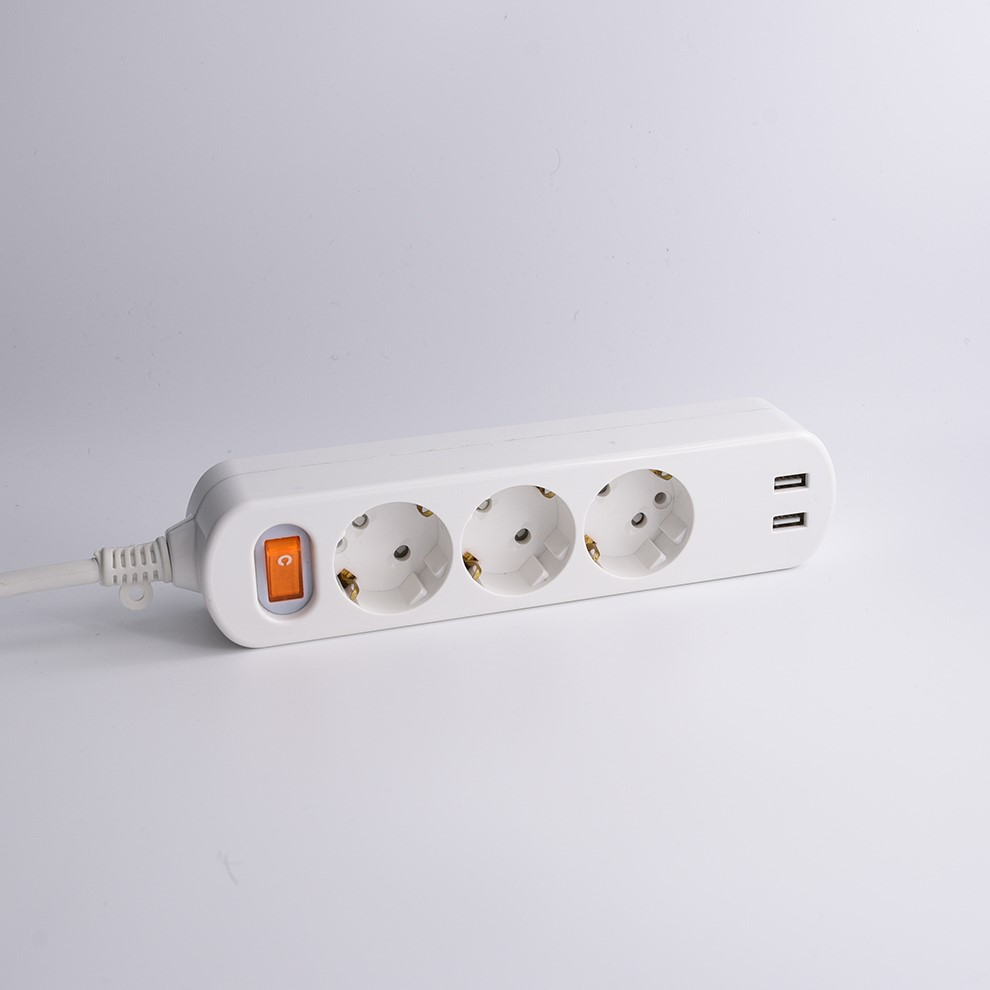 6 outlet power strip with usb ports electrical flexible socket extension flat cord power strip