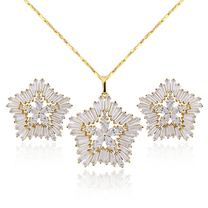 cz 3a necklace jewelry set de joyas en acero