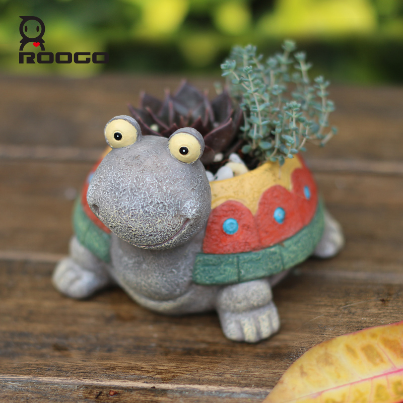 ROOGO resin flower pots home garden planters colorful turtle flower pot