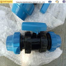 Irrigation system PP fittings double union ball valve for HDPE pipe