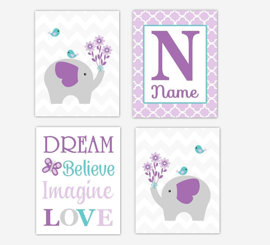 Baby Girl Nursery Wall Art Elephant Purple Lavender Teal Aqua Personalized Name Art Baby Nursery Decor Girl Room Print SET OF 4 UNFRAMED PRINTS