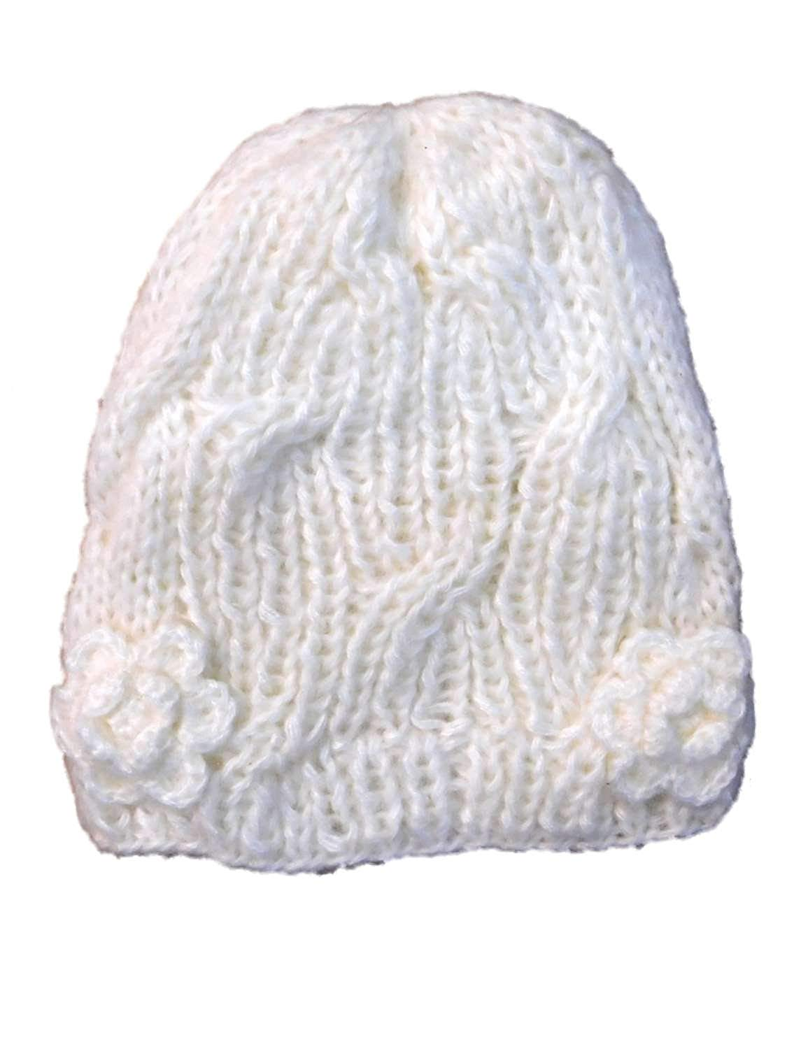 a754f4a49c0275 Get Quotations · ABG Girls Off White Cable Knit Beanie Winter Stocking Hat  With Crochet Flowers