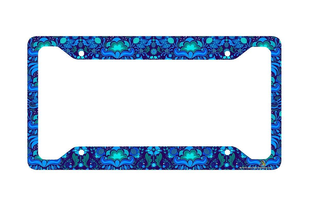 Airstrike Blue Tropical Flower License Plate Frame, Floral Pattern Car Tag Frame, License Plate Holder, Cute License Plate Frame-30-757