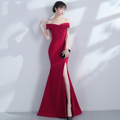 Bride toast dress Bridesmaid Dresses off-shoulder fishtail red evening dress WD6125 фото