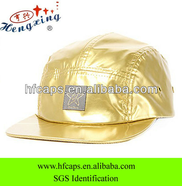 Gold water proof custom 5 panel wholesale hip hop hats