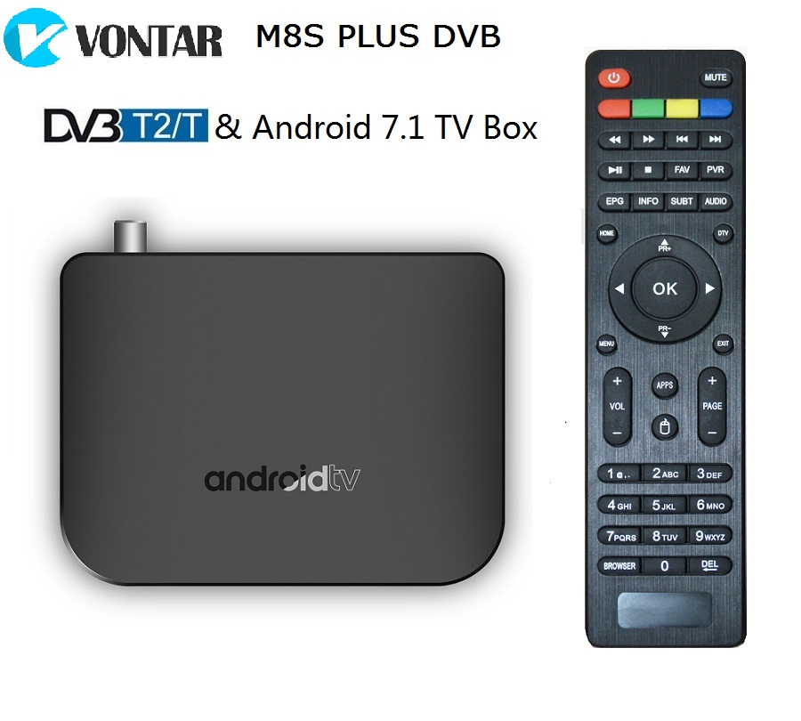 DVB-T2 Terrestrial Android 7.1 Combo TV Box Amlogic S905D Quad Core 64-bit RAM 1GB ROM 8GB Support 1080p 4K 30fps M8S PLUS DVB