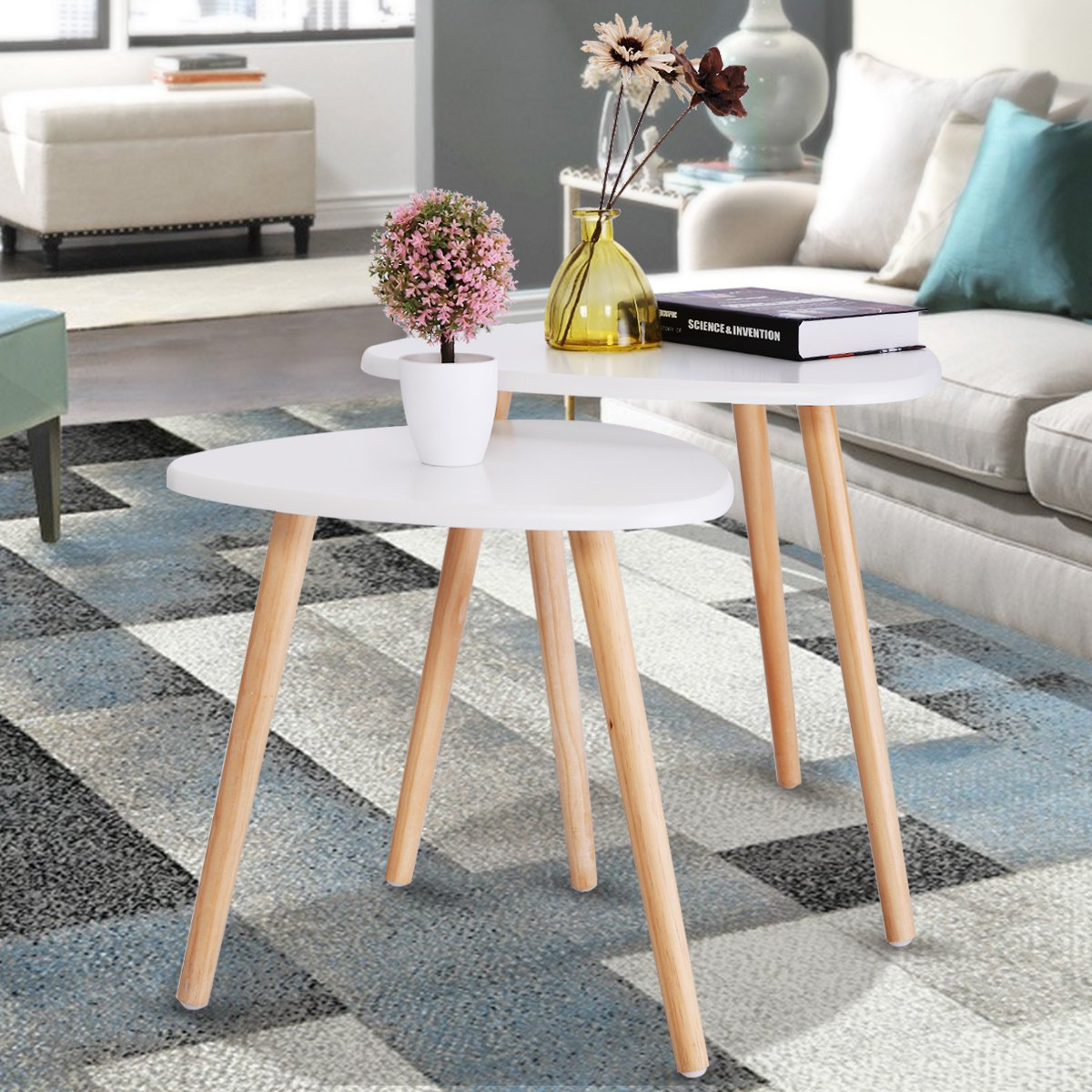 LAZYMOON Set of 2 White Wood Triangle End Table Mid-century Modern Nesting Side Table Accent Style