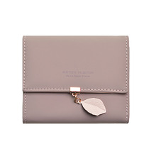 2018 top selling simple leaf pendant short three fold leather women purse