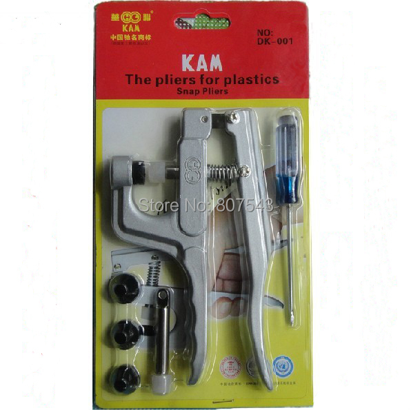 Free Shipping:1 Set KAM Snap Pliers+100 Sets*10 Color, KAM T5 Matte  Plastic Snap (Item No.  KAM DK001,T5 Snap)