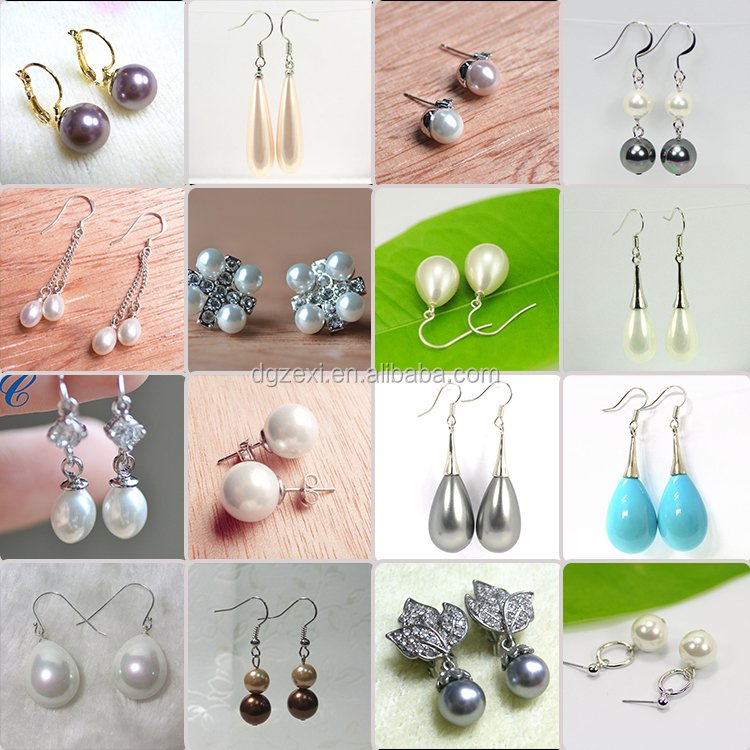 Artificial Latest Design Of Pearl Earrings White Round Shape Stud