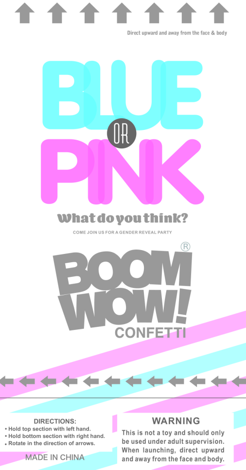 Boomwow wholesale custom logo boy girl pink blue gender reveal confetti popper cannon