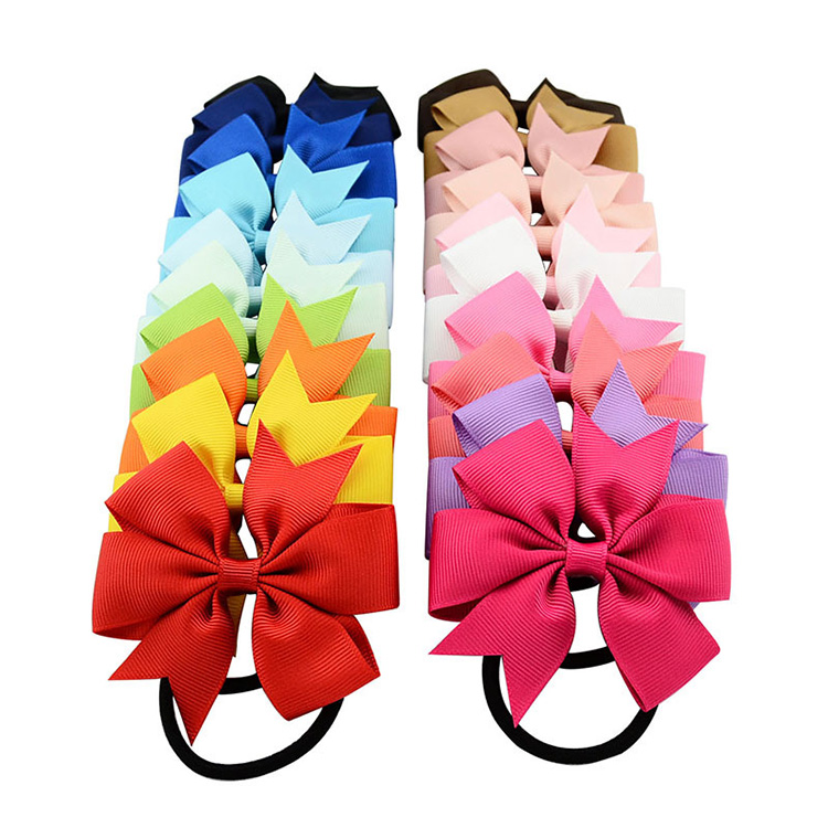 ZNFQ06 Sweet Solid Ribbon Bows Kids Elastics Hair Rope Hair Ties Headwear Kids Hair Accessories