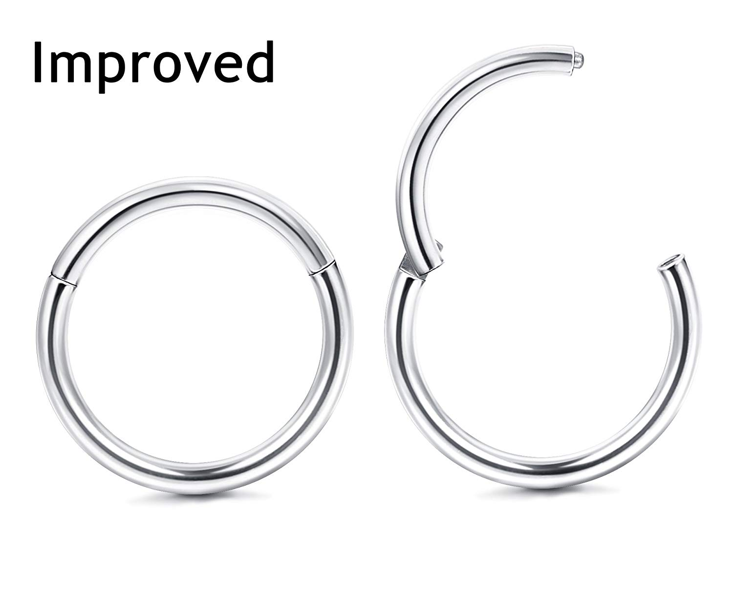 f457b460d Get Quotations · Thunaraz Improved 2Pcs 18G Stainless Steel Cartilage Hoop  Earrings for Men Women Nose Hoop Ring Helix