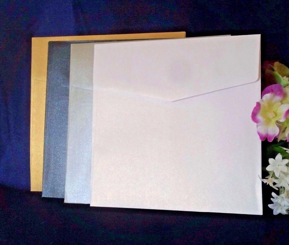 Pocket invites Pearl Pearlescent Pocketfold invitations with envelopes WEDDING