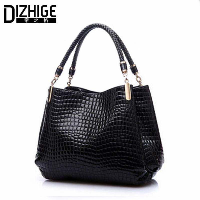 2015 Alligator Leather Women Handbag Bolsas De Couro Fashion Famous Brands Shoulder Bag Black Bag Ladies