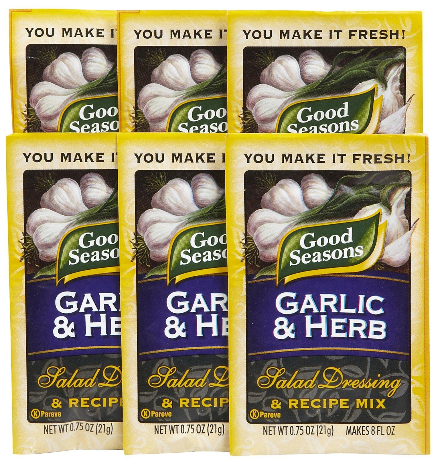 Good Seasons Salad Dressing & Recipe Mix, Garlic & Herb, 0.75 oz, 6 pk