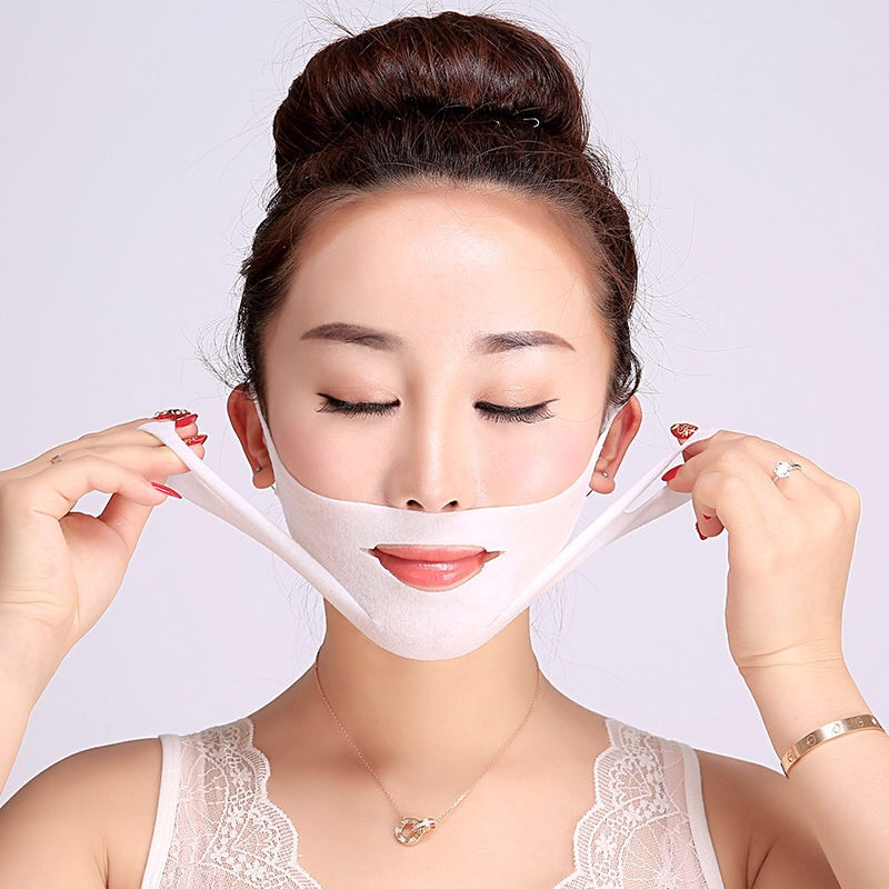V รูปร่างยก slim face lift v line หน้ากาก 4d facial mask double lifting facial mask