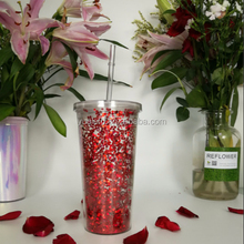 BPA Free 16OZ Glitter Double Wall Tumbler With Straw