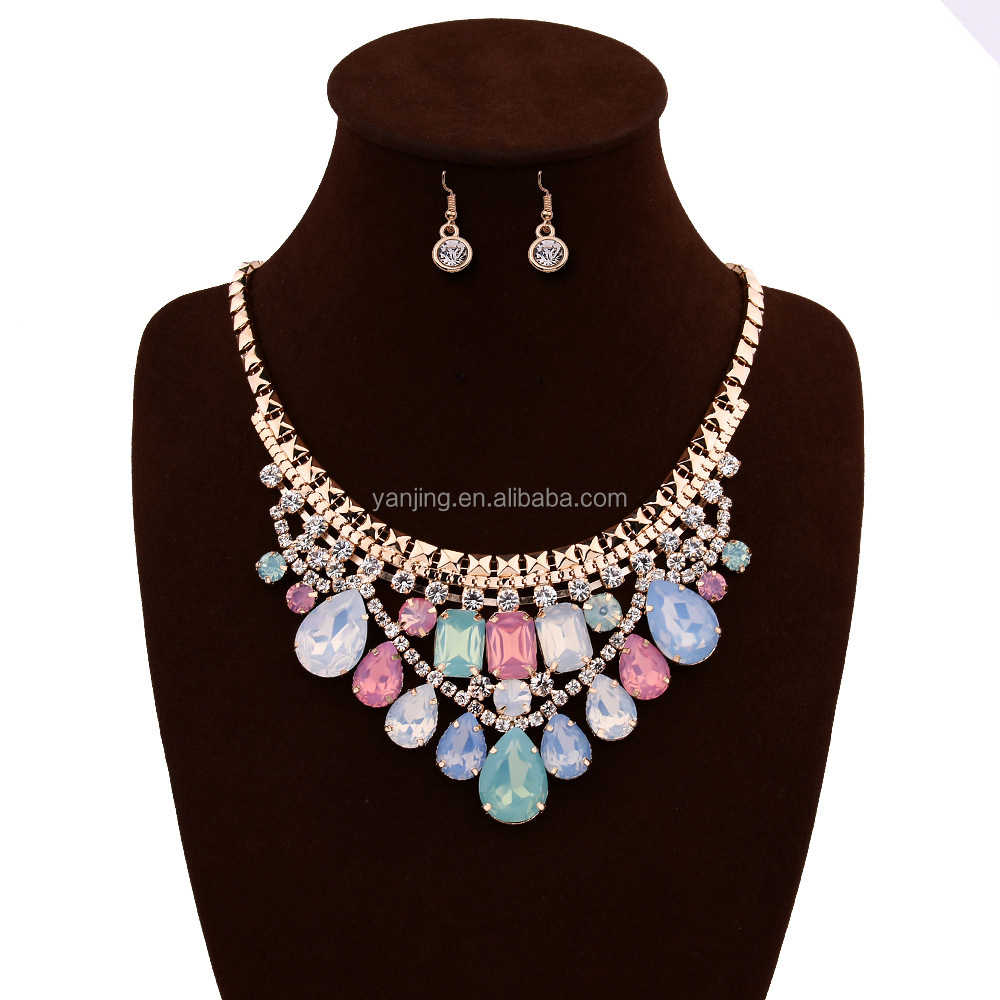 YJA146 Fashion Charm Chunky Crystal Statement Bib Chain Choker Pendant Necklace Set Jewelry