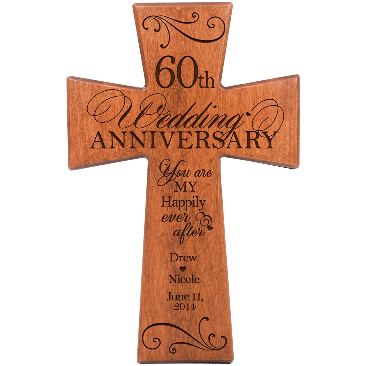Personalized 60th Wedding Anniversary Gift for Couple, Cherry Wall Cross Gifts for Her, 60 year ideas for Him, Every Love Story Is Beautiful but Ours Is My Favorite by DaySpring Milestones (7x11)