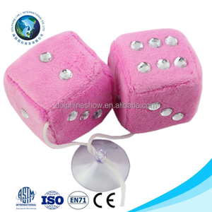 Pretty pink car windows hanging fuzzy foam dice set wholesale cheap stuffed soft plush toy custom dice