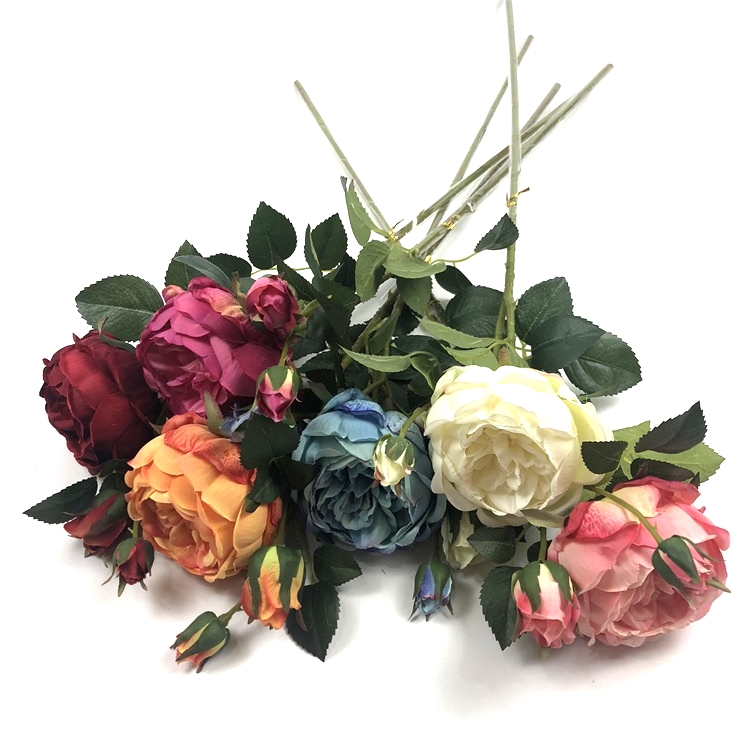 6 colors decorative silk rose flower one head wholesale artificial silk flowers english rose stem