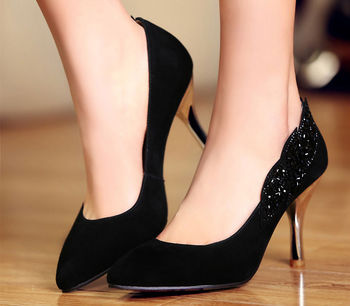 Womens Black High Heel Shoes - Qu Heel