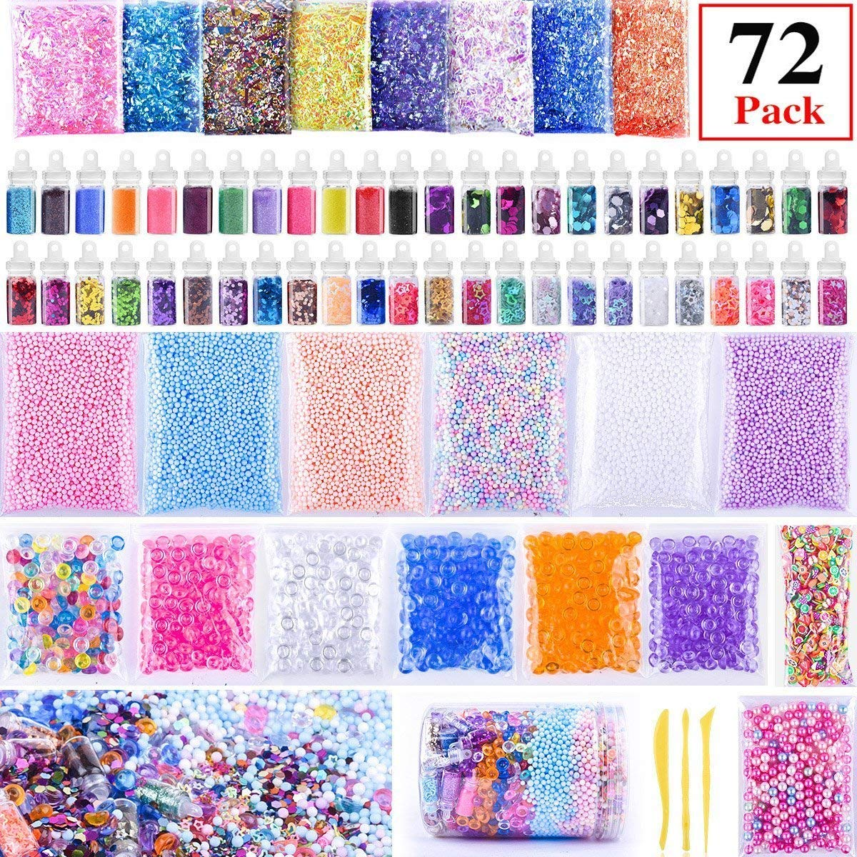 Slime Supplies Kit 72pack Environmental-protection ZHIQII Slime Beads Charms,Include Fishbowl beads,Foam Balls,Mixing Spoons Glitter Jars,Fruit Flower Animal Slices,Pearls,Slime Party DIY Slime Making