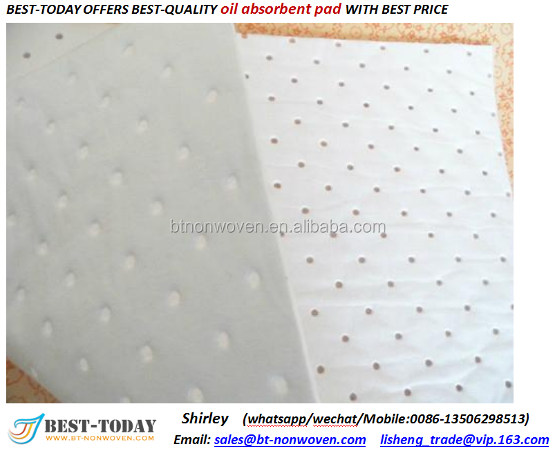 Recycled 100% polypropylene Oil Absorbent pad For Oil Pollution Control