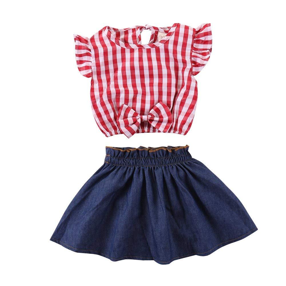 5159a5daa4287 Get Quotations · Baby Girl Skirt Set Summer Ruffle Sleeve Plaid Bow Tank  Top Denim Skirt Striped Jean Dress
