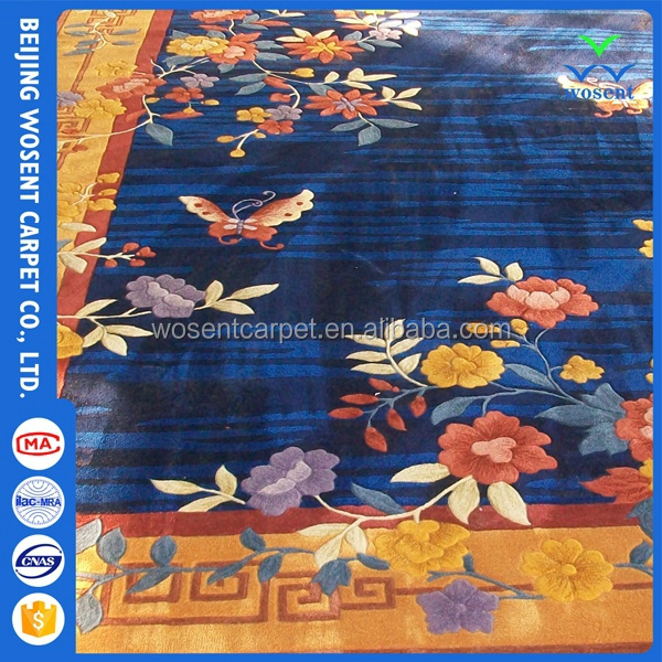 Floral custom woven 100% silk hand tufted home carpet for decoration