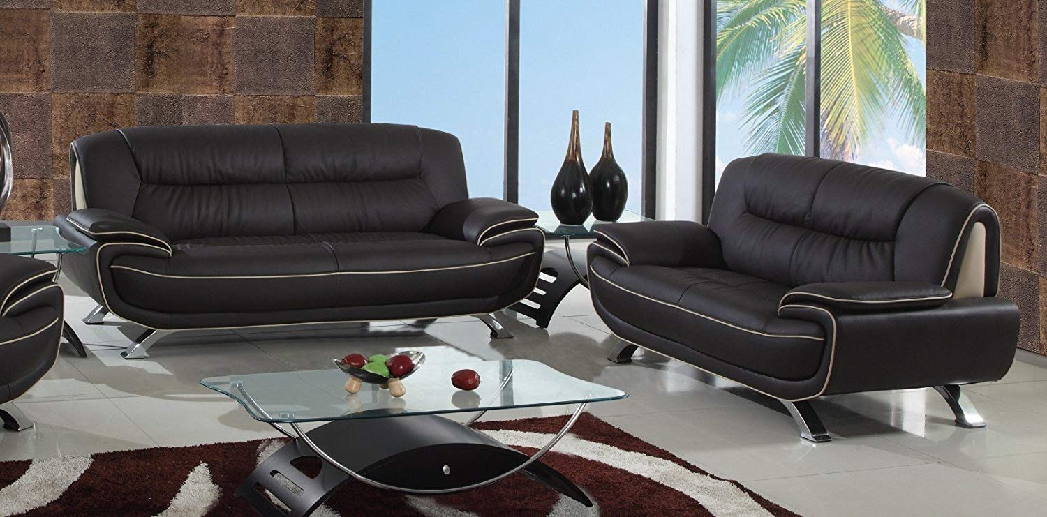 Blackjack Furniture 405-BROWN-2PC 405 Series Modern Faux Leather Sofa and Loveseat, Brown