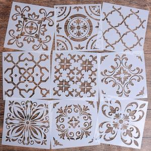 Reusable Mandala Stencil Set of 9 (6 x 6 inch) Painting Stencil, Laser Cut Painting Template for DIY Decor, Painting on Wood