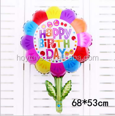 68*53cm Large smiley green leaf sunflower foil balloons